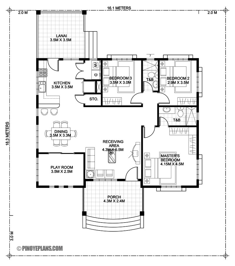 Three Bedroom Bungalow House Design