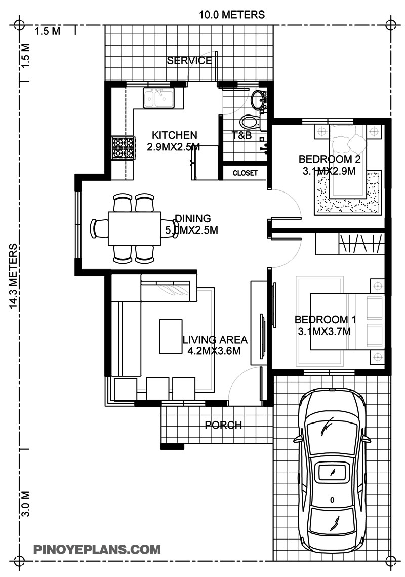 2 Bedroom House Plans: Wanda – Simple 2 Bedroom House With Fire Wall