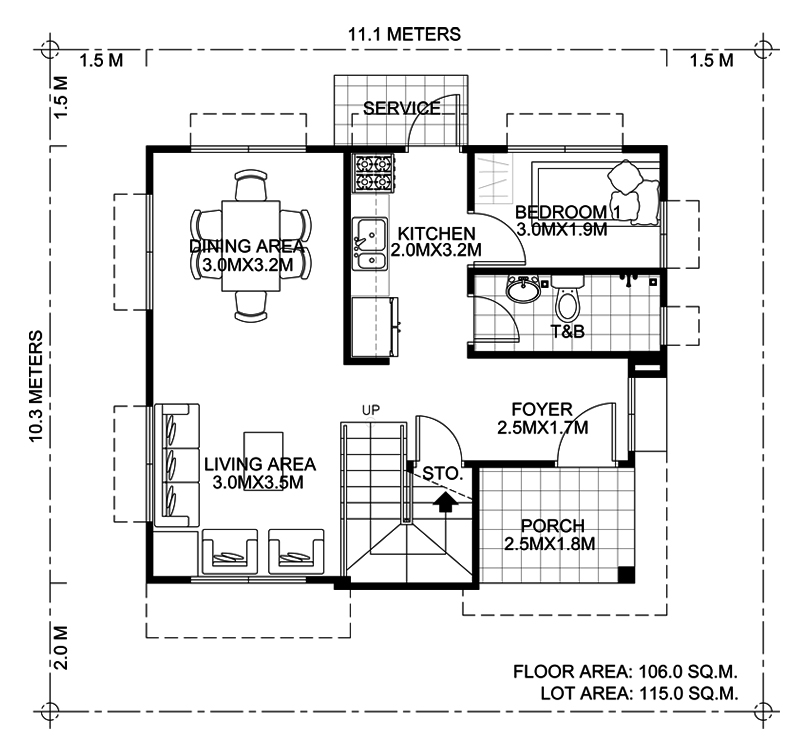 Elisa Four Bedroom Compact Two Storey House Design Pinoy