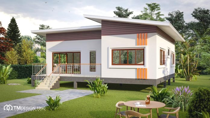 Elevated Two Bedroom Bungalow With A Cottage Look Pinoy Eplans