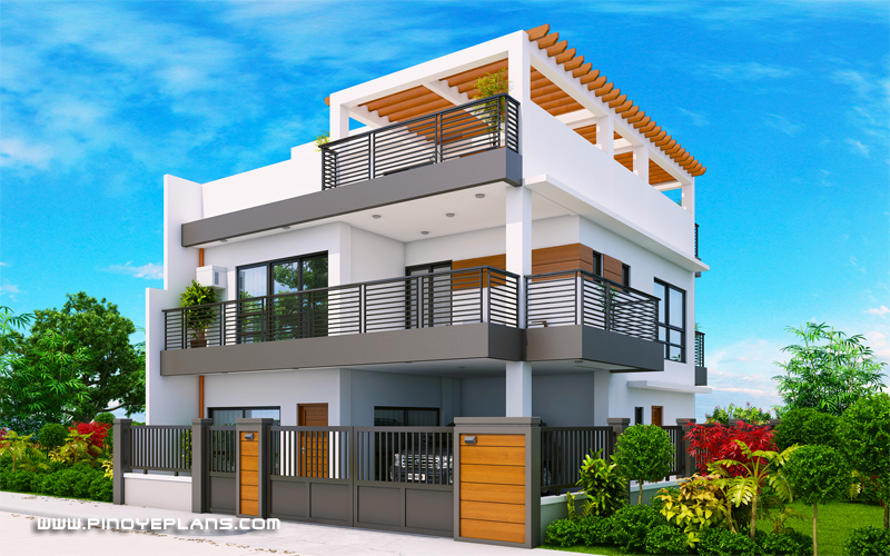 Arabella Three Bedroom Modern Two Storey With Roof Deck Mhd 2019039 Pinoy Eplans